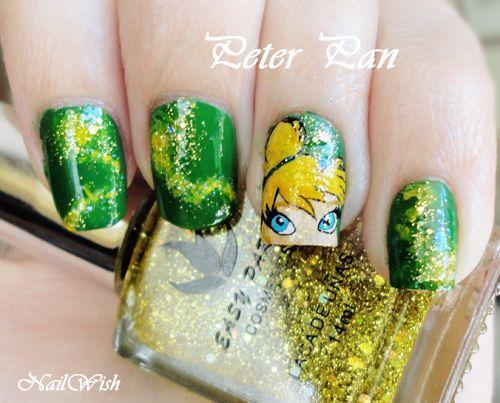 Disney tinkerbell Nails | Found on nailwish.blogspot.com.es