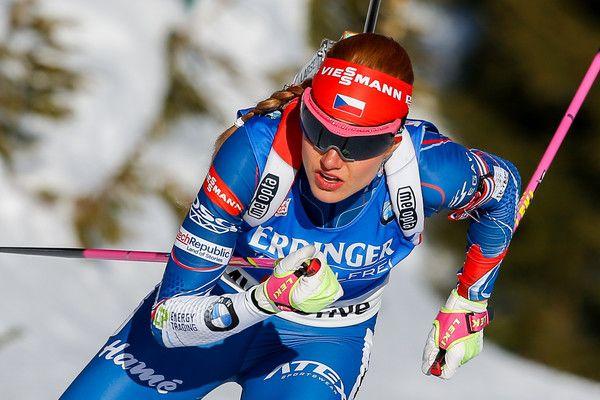 Gabriela Koukalova of Czech Republic wins the gold medal during the IBU Biathlon World Championships Women's Sprint on February 10, 2017 in Hochfilzen, Austria.