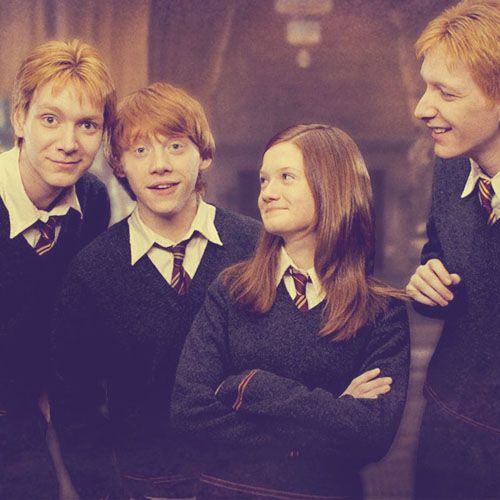 The Weasley family. Either Fred or George on the left, Ron, Ginny, and either Fred or George on the right. Haha, I can never tell them apart. I'm Ginny!!!