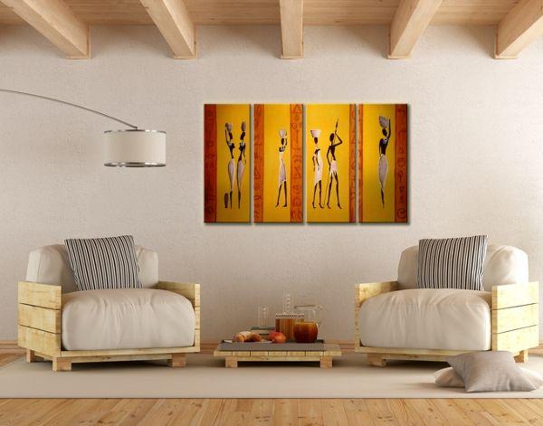 Modern lakásdekoráció, melegséget árasztó színekkel festett vászonképpekkel:  http://www.kepafalra.hu/festett-vaszonkepek/2095-afrikai-torzs-festett-vaszonkep.html #lakberendezés #vászonkép #inspiráció #faldekoráció