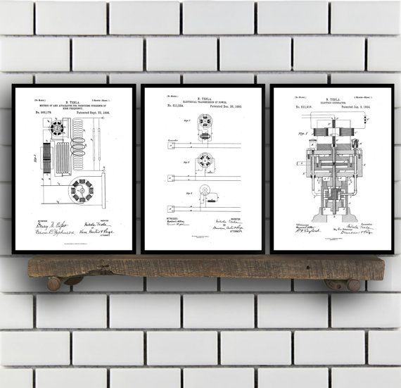 Tesla Patent Set of THREE, Tesla Electrical Transmitter Patent, Tesla Poster, Tesla Transmitter Print, Tesla Patent, Tesla Inventions, SP115 by STANLEYprintHOUSE  7.50 USD  All of the posters are printed using high quality archival inks, and will be of museum quality. Any of these posters will make a great affordable gift, or tie any room together.  Please choose between different sizes and colors.  These posters are shipped in mailing tubes via USPS Fi ..  https://www.etsy.com/ca/..