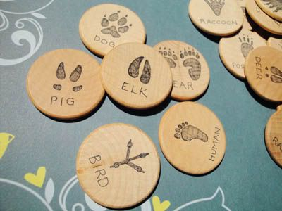 animal tracks matching game.  this would be great fun for the boys to pass off their animal tracks identification requirement!