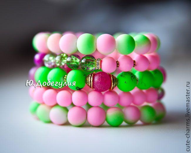 """Купить Set """"Bubblegum"""". Неоновые браслеты. - браслеты с камнями, натуральные камни, натуральные материалы"""