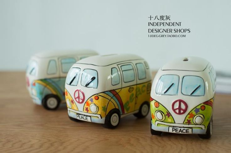 Puckator Hand painted money box ceramic car savings can Zakka Volkswagen T1 bus piggy bank-in Money Boxes from Home & Garden on Aliexpress.com | Alibaba Group