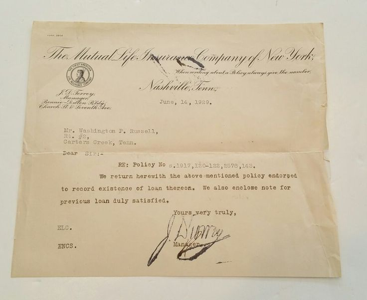 1929 letter from The Mutual Life Insurance Of New York to W.P. Russell Tennessee