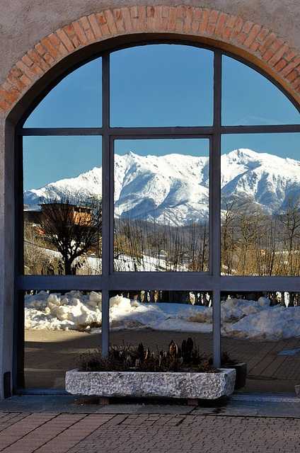 Snow mountains reflection in Vicoforte, Cuneo Piemonte Italy