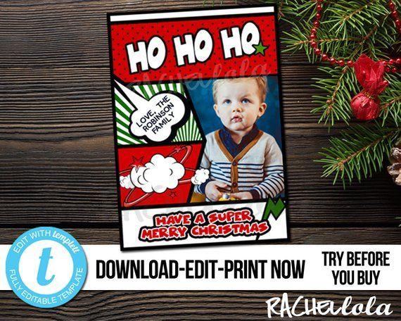Editable Comic Book Christmas Card Photo Printable Template Superhero Kids Family Fun Super Merry Digita Christmas Photo Cards Christmas Cards Christmas