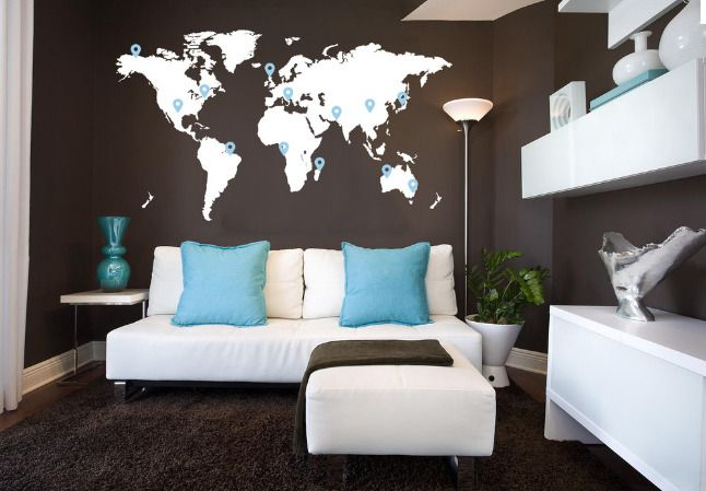 World map ducal for M's bedroom.  What about different patterns (e.g. polka dots for one continent; horizontal stripes for another to create some interest