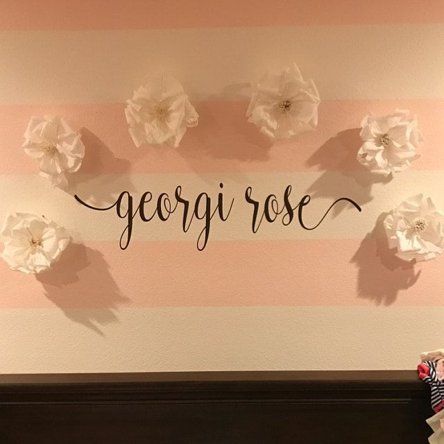 This gorgeous decal would be the perfect finishing touch in any baby nursery or bedroom! Available in various sizes and colors. Name Wall Decal Personalized Name Decor Girls Nursery Decal Rustic Cottage Style Name Decal Girls Bedroom Decor Gold Name Lettering