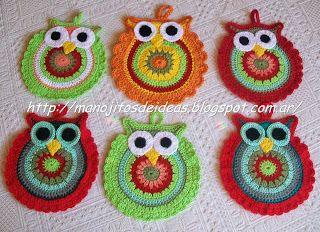 http://manojitosdeideas.blogspot.com.ar/: Buena Ideas, Crafts Ideas, De Ideas, Agarradera Manojitosdeidea, Manojitos De, Ideas Para, Fiebre De, De Buhos, Buho Tejido
