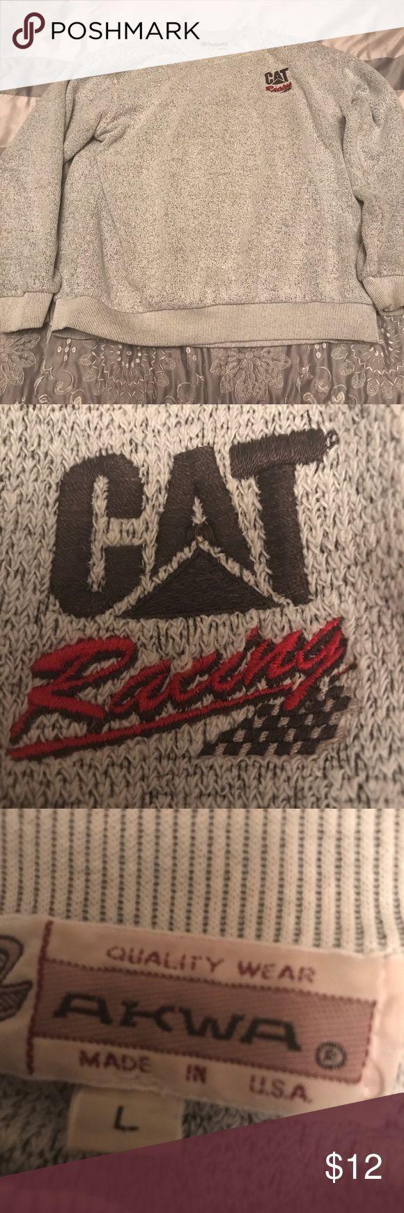 Men's Cat Racing sweater size large Men's Cat Racing light gray sweater-large Sweaters Crew & Scoop Necks