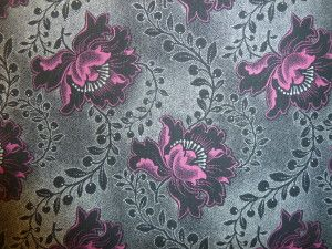 3 Cats Shweshwe: Hibiscus in Black and Pink. Worldwide shipping available from http://www.meerkatshweshwe.com/