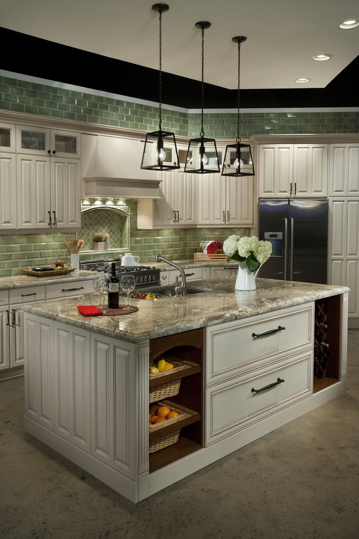 Green Subway Tiles With Heirloom White Cabinets U003d Country Kitchen With A  Little Edge!