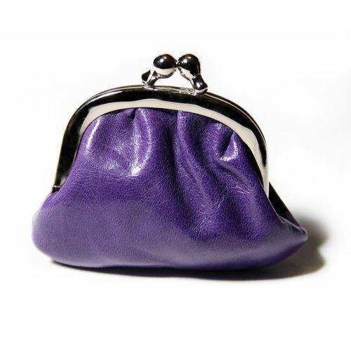 """Kleine Geldbörse/Portemonaie """"Miniknip Crunch Purple"""" aus Leder 8 x 7 x 1,5 cm - #Cellarrich"""