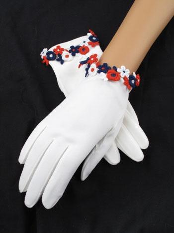 Vintage Red White & Blue Short Gloves