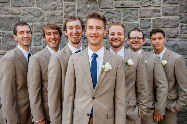 Tan Groomsmen Suits || Nautical Wedding PHOTO SOURCE • ANDA PHOTOGRAPHY