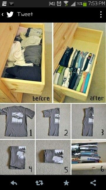 A way to save room in your drawers