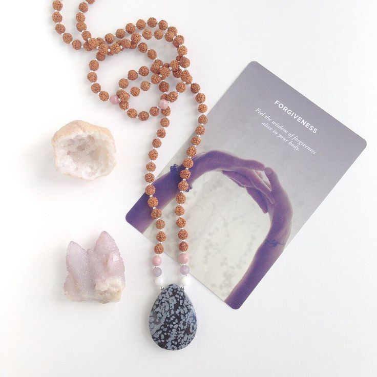*Snowflake Obsidian, Rhodonite, Moonstone, Lepidolite*  The Forgiving Mama Mala helps to release you from harmful patterns and emotional wounds that may be affecting your choices, so you can start to move forward from a place of love and light, free from past resentments and conditioning.