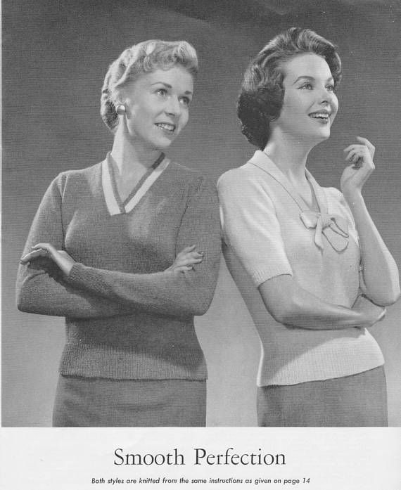 1950s Smooth Perfection Long or Short Sleeve sweater
