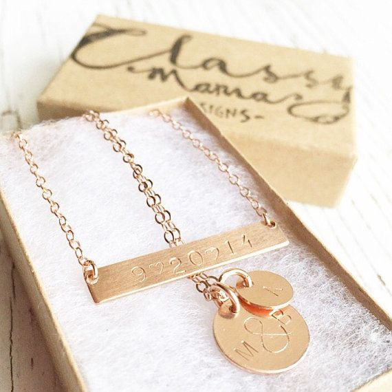 Handstamped jewelry layering set , gold bar necklace , silver , rose gold , hammered jewelry option