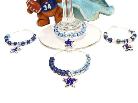 Set of 4 Dallas Cowboy Wine Glass Tags with Stars or by GirlieGals