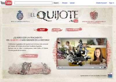 """El Quijote en YouTube"" -- How cool! 2,149 Spanish-speaking readers each read part of ""Don Quijote"" in this joint YouTube / Royal Spanish Academy project. YouTube link here: http://www.youtube.com/user/ElQuijote/featured"