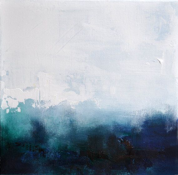 """Winter Abstract 6 - original abstract painting , modern landscape 12""""x12"""" SALE 25% OFF"""