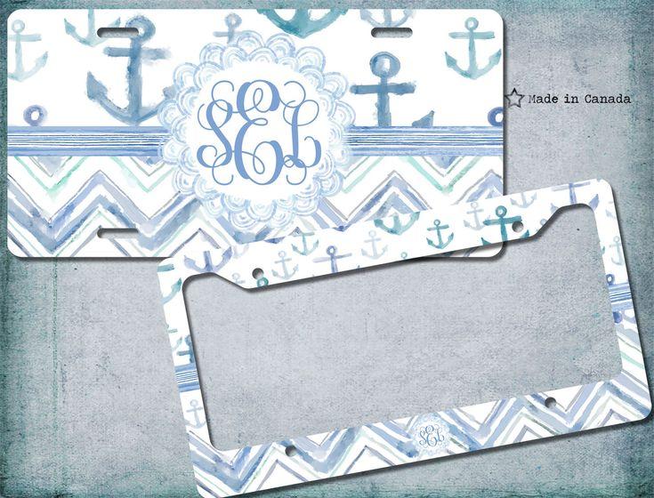 Chevron Pattern, Anchor, Watercolour, Nautical Theme, License Plate, License Plate Frame, bike license plate, monogrammed license plate by SaidTheOwl on Etsy