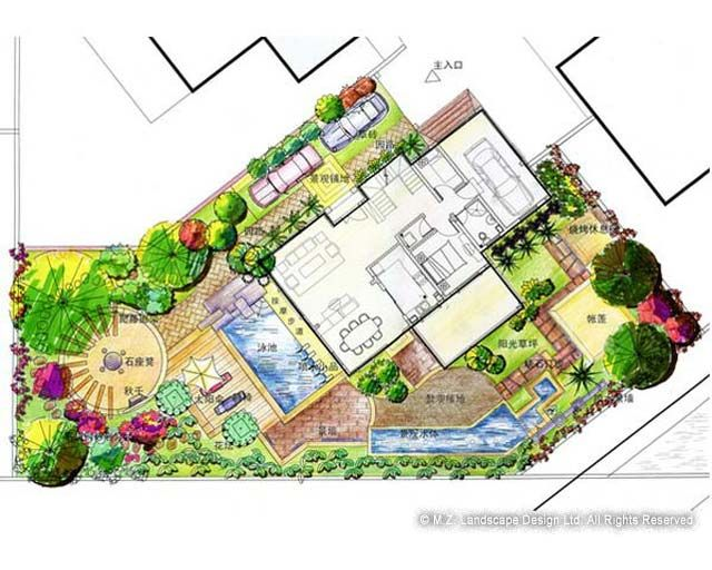 176 best landscape plans renderings images on pinterest for Landscape villa design