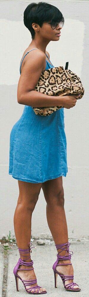 Cotton On Denim Dress + Aldo Heels / Fashion by Kyrzayda