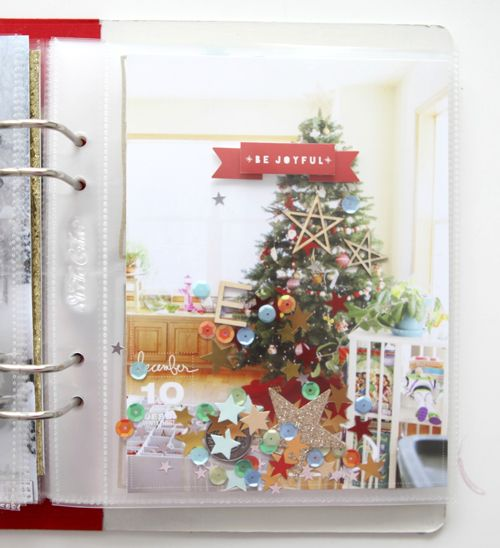 December Daily™ 2013 | Day Ten - full page photo + confetti that includes stars, wood veneer, etc.
