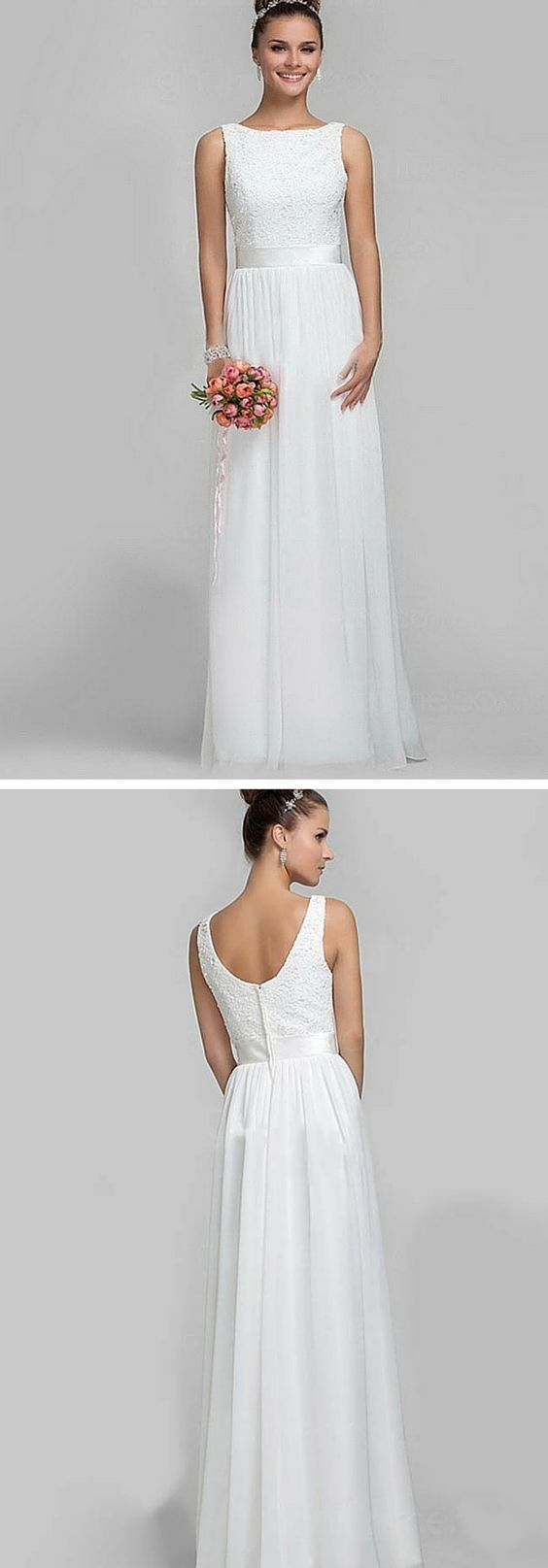 Classic floor-length lace and chiffon bridesmaid dress! It can be custom made in 32 colors. It's a classy and affordable dress your entire bridal party will love.