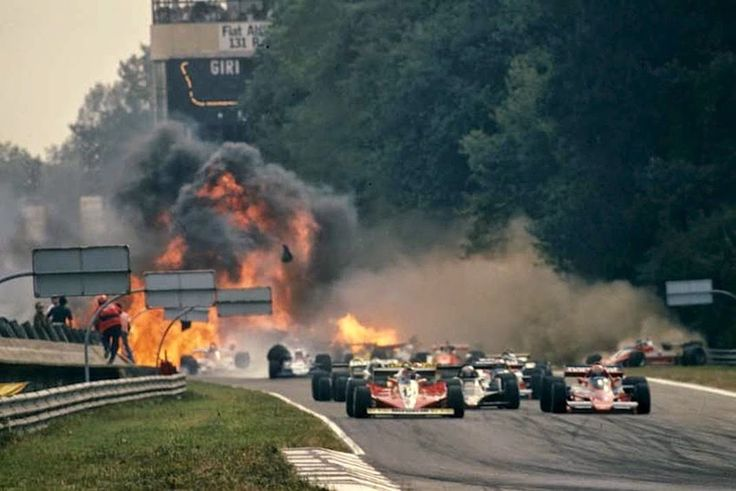 Gilles leads at the start of the 1978 Italian Grand Prix @ Monza, The accident the would eventfully claim the life of Ronnie Peterson fills the background.
