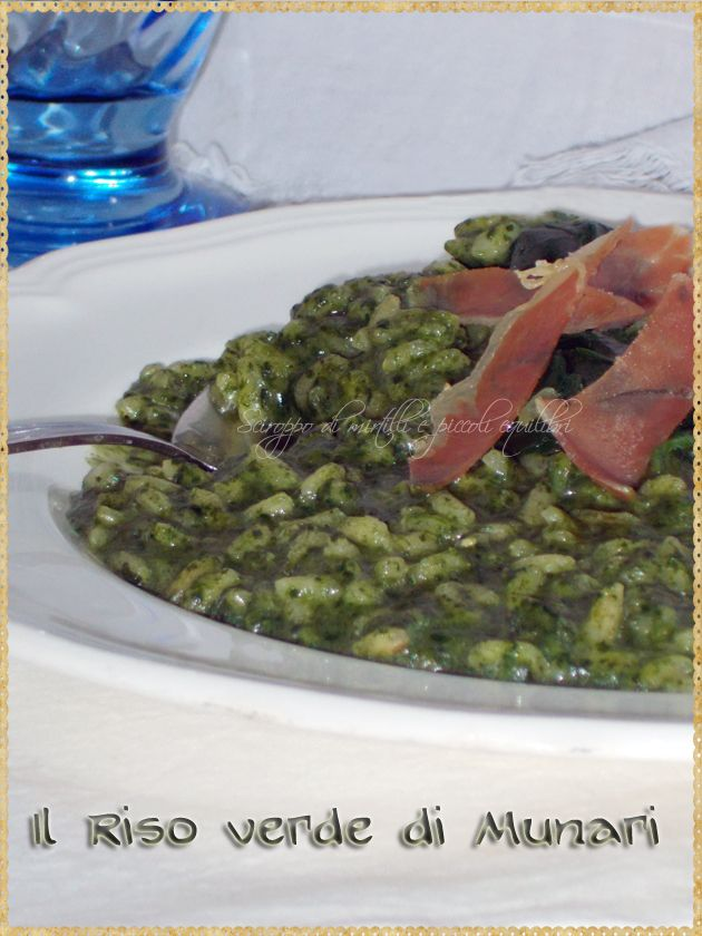 Il riso verde di Munari (The green rice with spinach and prosciutto, inspired by Bruno Munari)