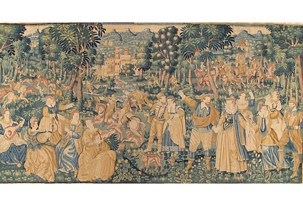 """16th-C. Game Park Flemish Tapestry -  162""""W x 84""""H -"""