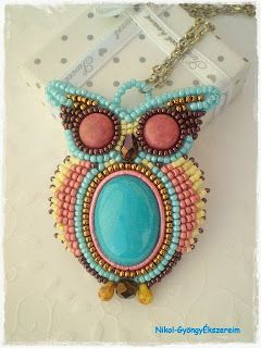 Nikol - GyöngyÉkszereim: Rock@ Roll Bagoly-nyaklánc / Owl bead embroidery