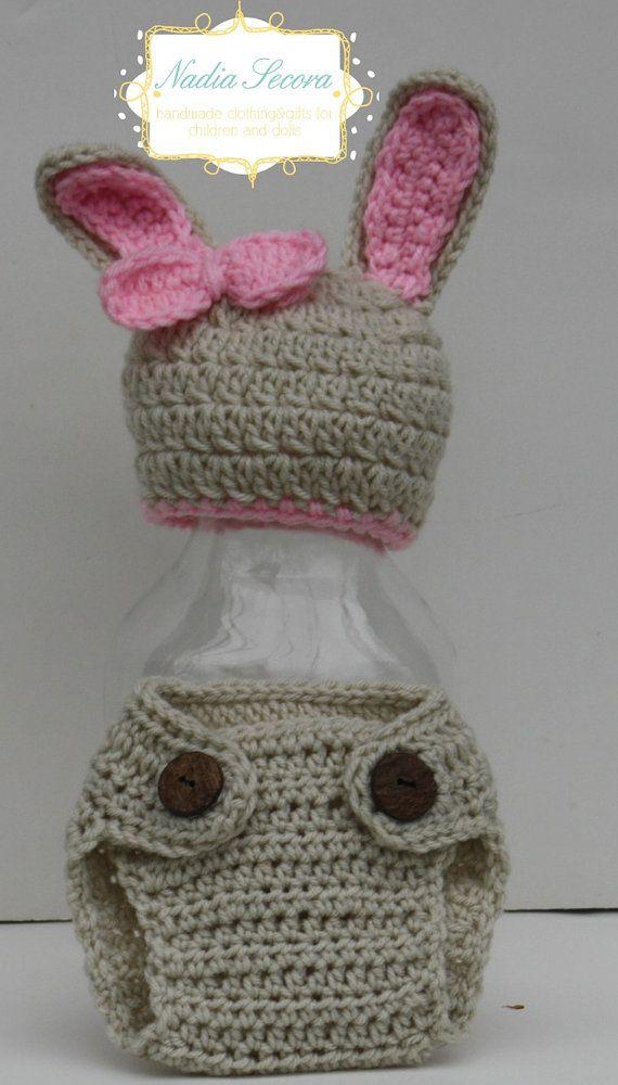 Bunny Rabbit crochet diaper cover and hat idea