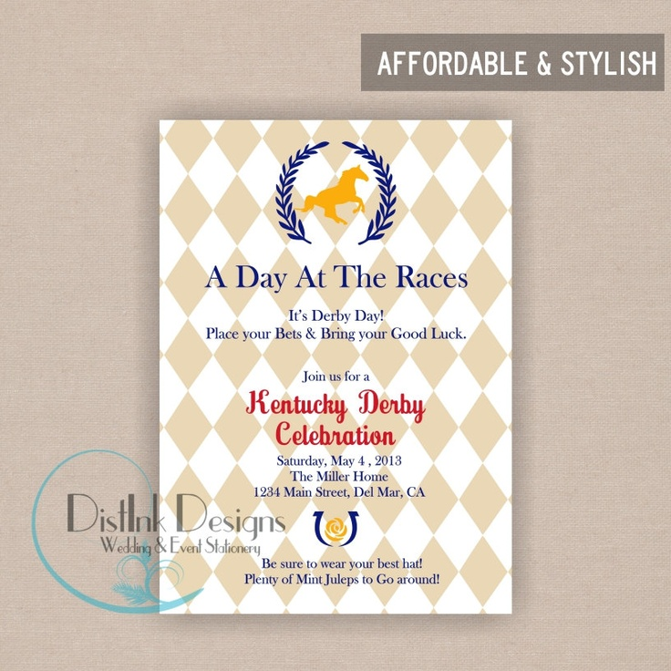 Kentucky Derby Party Invitation - Digital Printable Horse Racing Invitation Customize the COLORS and WORDING. $15.00, via Etsy.