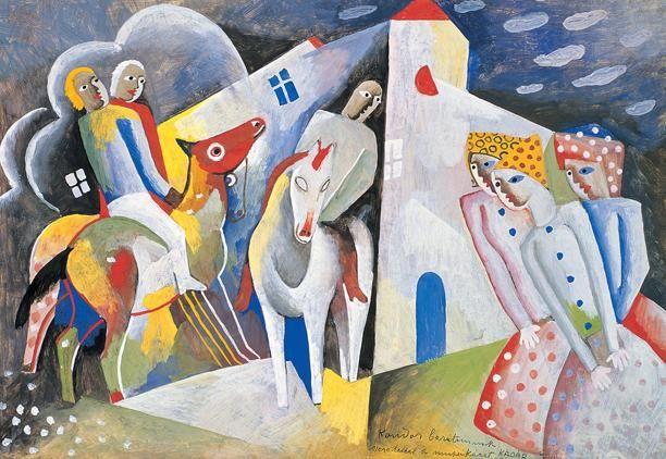 Kádár Béla , Három lovas, három lány , 1924 körül, Tempera, Papír