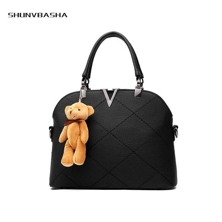 Fresh Handbags For Ladies Cute Bear Ornament PU Fashion Shell Bags For Women Solid Sewing Gifts For Girlfriend Trendy Handbag