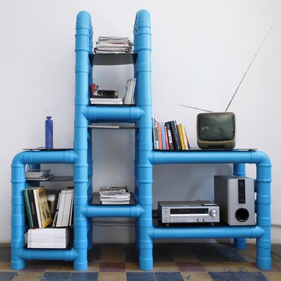Neat for a kid's room storage solution, add some baskets & paint any color. Use something besides glass for the shelves :)