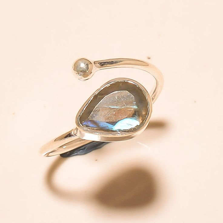 92.5% SOLID STERLING SILVER AMAZING FACETED LABRADORITE RING (Adjustable)  #Handmade