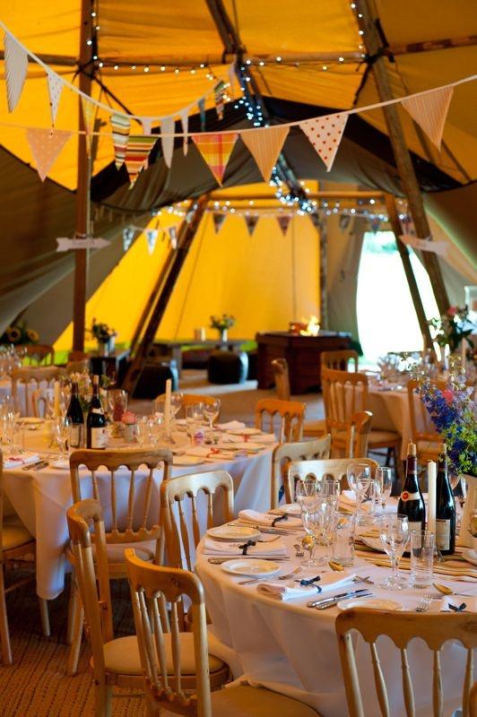 Teepee tent wedding reception!-bunting!
