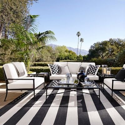 Patio Stripe Indoor/Outdoor Rug from #williamssonoma--high style, low maintenance, via ThePhaseThreeHome.com