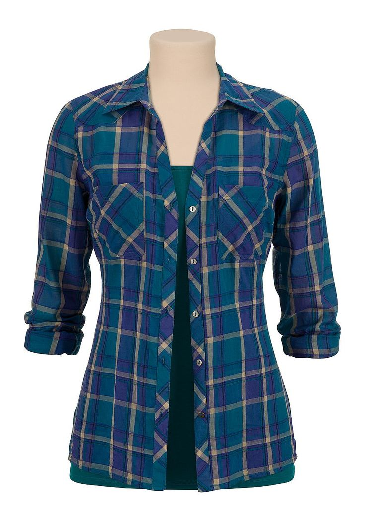 lightweight relaxed plaid button down shirt #maurices #spon @maurices