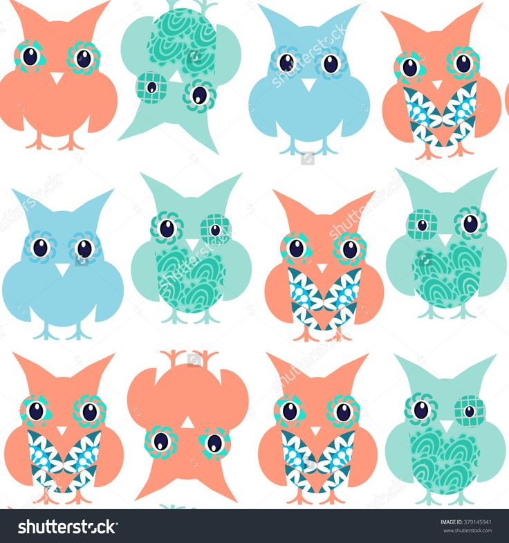 #owls #seamless #pattern #vector #abstract #vivid #birds #nature #fauna #RF #background #fantasy #spring