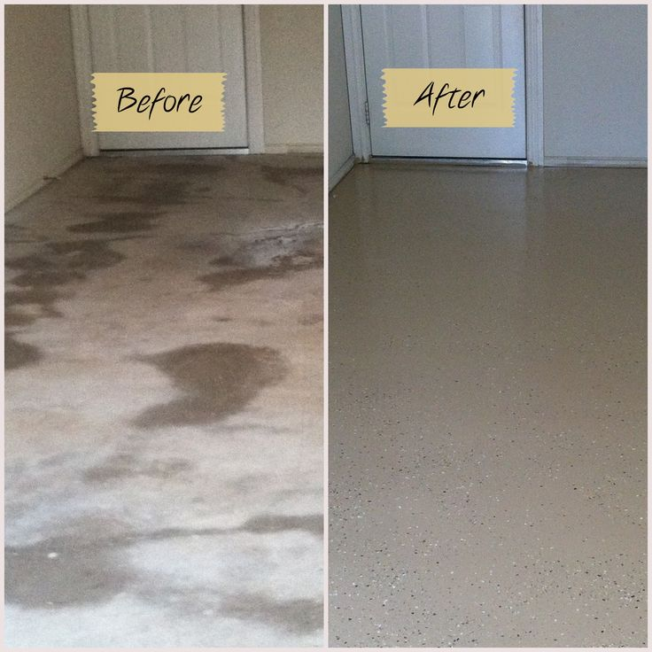 Before and after garage floor using Quickcrete garage floor epoxy kit.. Well worth it!