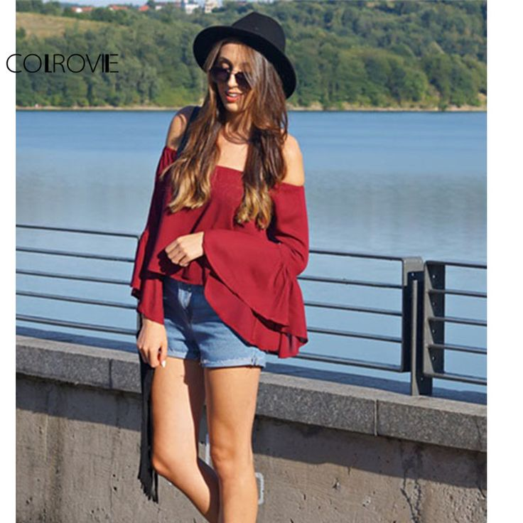 COLROVIE 2017 Spring/Summer Solid Burgundy Off the Shoulder Long Flare Sleeve Sexy Top Loose Shirt Designer Cheap Blouse