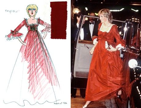 Telegraph:  Princess of Wales' Belville Sassoon Dresses Go on Display-The claret dress the Princess wore to the Barbican opening (The Glamour of Bellville Sassoon by David Sassoon and Sinty Stemp/Getty)