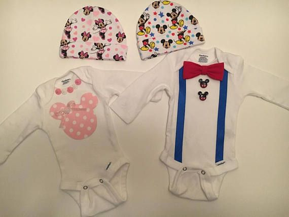 Adorable baby outfits for Mickey and Minnie Mouse lovers are perfect for baby shower gift, newborn hospital outfit or coming home outfit! Baby girl set brings Minnie Mouse print hat and onesie with polka dot fabric mouse embellished with a glittery pink bow and pink and white pearl